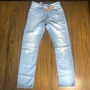 Levi's 501 high rise straight leg distressed jeans